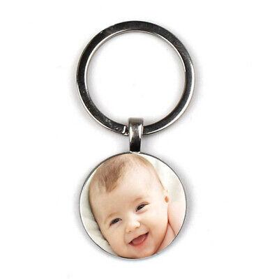 Silver Photo Key Tag - Custom Personalized Photo Keychain Key Ring Present Gift DIY Car Door Key Tag