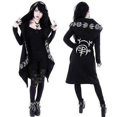 Jacke Mantel Frauen Hexe Zauberer Oberteile Kostüme Schwarz Langarm Gothic - Zauberer Kostüm Weiblich