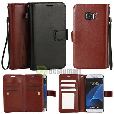 Double Flip book Leather Wallet Case Cover for iPhone 7/ Plus / Galaxy S7/ Edge