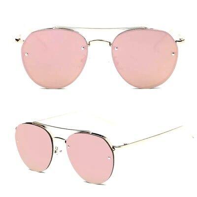 Sonnenbrille Pilot Rund Gold Pink Rosa Cat Eye Vintage Verspiegelt fab334