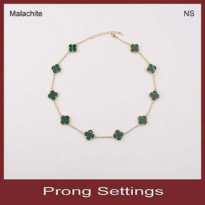 "prong 10-motif 0.6"" simulated malachite lucky flower necklace in gold"