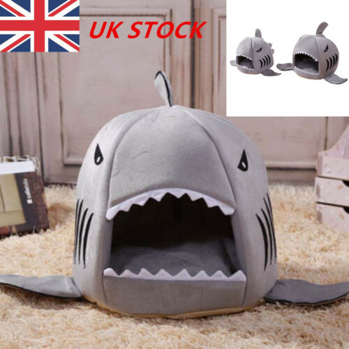 US Pet Cat Winter Warm Dog Bed Shark Mouth House Puppy Kennel Basket Cushion Mat
