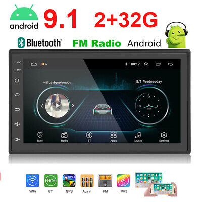 "2+32G 4 Core Android 9.1 10.1"" Double 2 DIN Car GPS Navigation Stereo Radio"