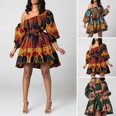 Damen Kleid Damen Sommer Afrikanische Mode Langärmliges Kleid Boho Freizeit