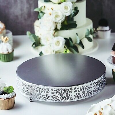 """12"""" wide SILVER Metal Round Cake Stand Cupcake Wedding Party Centerpieces Home"""