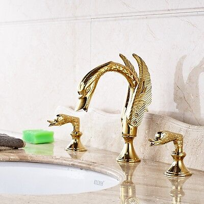Widespread Golden Brass Bathroom Tub Faucet Swan Spout Vanity Sink Mixer Tap