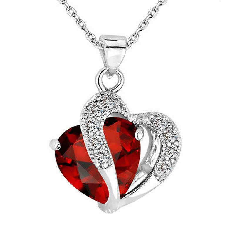 Fashion Women Heart Crystal Rhinestone Silver Chain Pendant Necklace Charm Gift