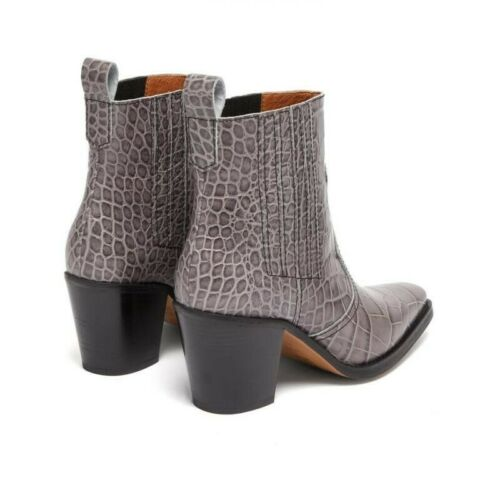 Western-style Alligator Pattern Chunky Heel Ankle Chelsea Boots Women Square Toe