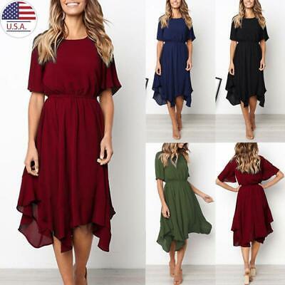Women Short Sleeve Summer Midi Dress Ladies Holiday Casual Sundress Swing Dress