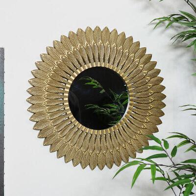 Grande Dorado Pluma de Pared Espejo Vintage Decorado Decoración Hogar Pantalla