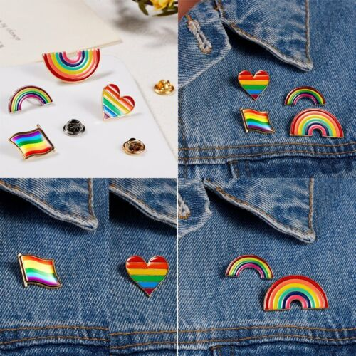Chic Rainbow LGBT Gay Pride Peace Enamel Piercing Brooch Pin