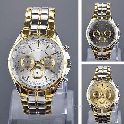 $5.99 - Luxury Mens Dial Gold Stainless Steel Quartz Analog Business Wrist Watch