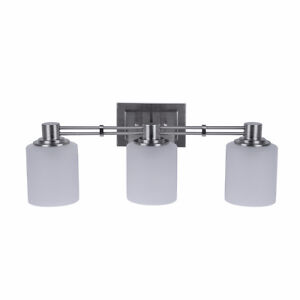 Brand New Brushed Nickle 3 light bathroom fixture - still in box