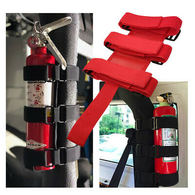 Adjustable Car Safety Roll Bar Fire Extinguisher Holder Mount Bracket Fixed Tool