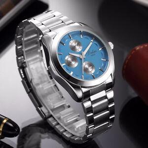 Brand New Luxury Mens Blue Dial Silver SS Sport Wrist Watch