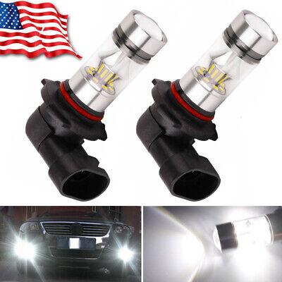 Pair 9140 9145 H10 9005 LED 100W 3030 6000K White Fog Light Driving DRL Bulbs