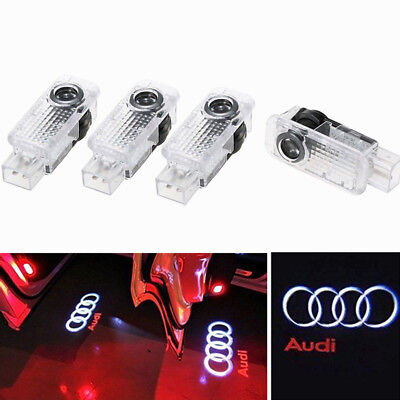 4 Pcs LED Logo Light Shadow Projector Car Door Courtesy Laser Audi A4 A6 A8 Q7, used for sale  China