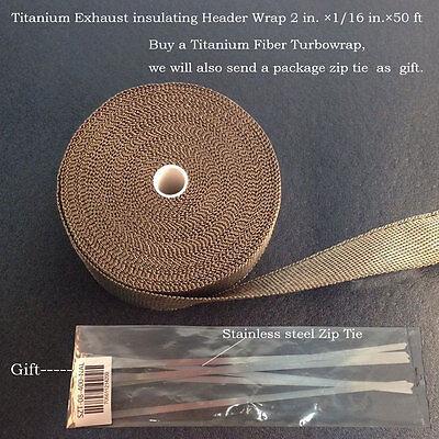 Titanium Insulation Pipe Wrap Exhaust Header Tape 2 in.×1/16 in.×50ft 2015c