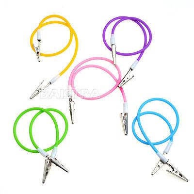 10pcs Azdent Dental Napkin Holder Bib Clip Silicone Cord 50cm 5 Colors