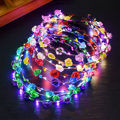 Cat Ear Headdress Girl Women Flower Wreath Headband LED Floral Garland Hairband