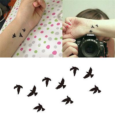 4PCS Women Nice Finger Wrist Liberty Small Birds Fly Fake Tattoo Stickers Nice