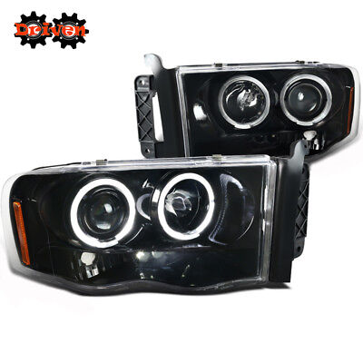 02-05 Dodge Ram 1500/2500/3500 Halo Projector LED Glossy Black With Clear Lens