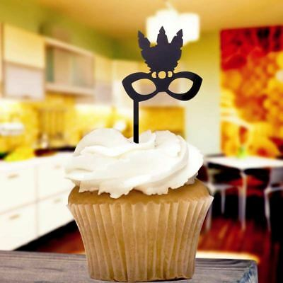 Black Masquerade Ball Cupcake Toppers x8 Baking Cake Pick Decoration