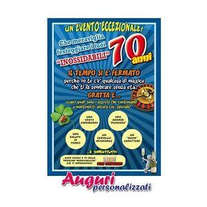 Cartolina auguri 70 anni idea regalo biglietto bigliettino for Regali spiritosi