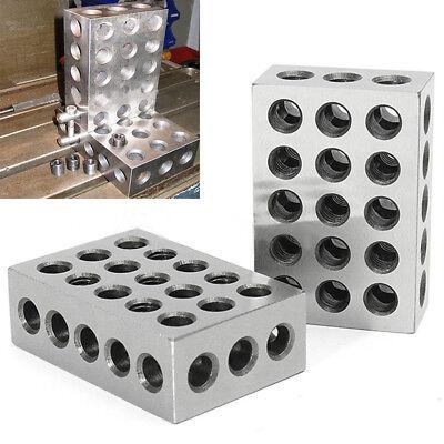 1 Pair 123 Blocks 1-2-3 Ultra Precision .0002 Hardened 23 Holes 0.0002 Silver
