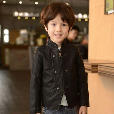 Spring Fall Baby Boys Casual Black Coat Kids Zipper Synthetic Leather Jackets