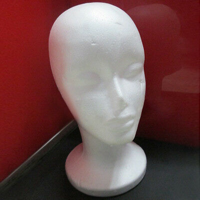 Female Head Model Wig Hair Hat Glass Display Styrofoam Foam Mannequin White Pop