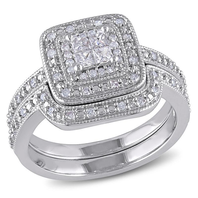 zales 1 ct tw princess cut diamond frame bridal set - Zales Wedding Rings On Sale