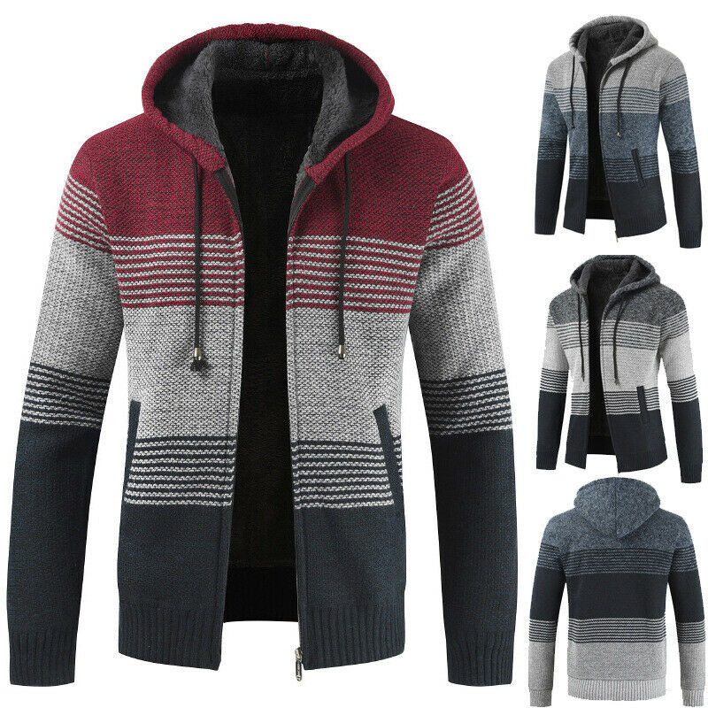 Herren Mantel Cardigan Jacke Pullover Lose Samt Dicke Strickjacke Hooded Sweater