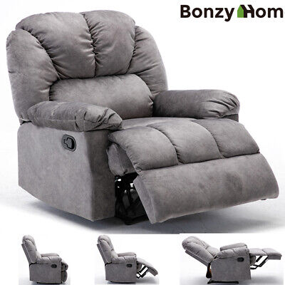 Manual Recliner Chair Wide Padded Sofa Heavy Duty Base Extra Comfy Velvet Fabric Modern Wide Sofa