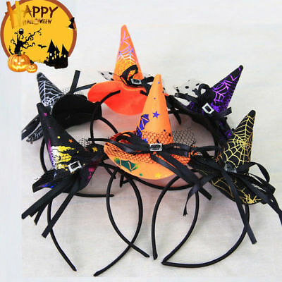 Mini Witch Hat Headband (Women Girl Headband Mini Witch Hat Hair Hoop for Halloween Costume Party)