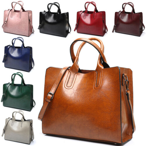 Damen Vintage Leder Tote Schultertasche Handtasche Mode Groß Umhängetasche Bag