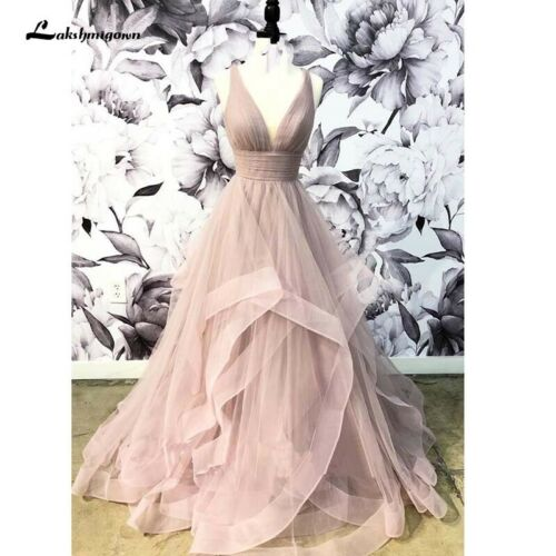 V-neck Tulle Bridal Gown with Ruffles Backless Dusty Pink Wedding Dresses Deep