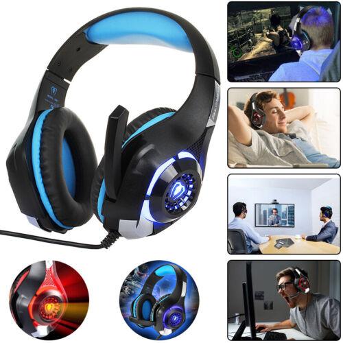Beexcellent Gaming Headset LED Kopfhörer mit Mikrofon für PS4 PC Xbox One Handy