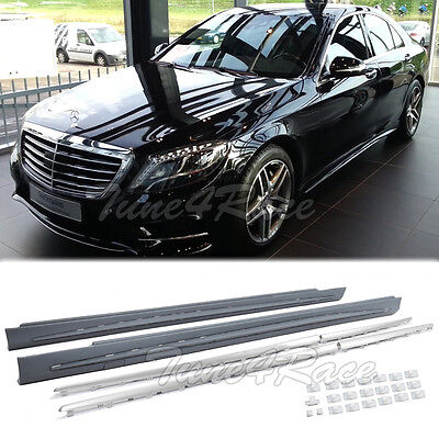 For 14-17 Benz S-Class Sedan S63 S65 AMG Style W222 Side Skirts Rocker Panel Kit