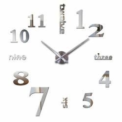 3D Modern DIY Art Clock Large Number Mirror Wall Sticker Big Watch Home Decor WW