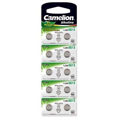 10x Knopfzelle Uhren-Batterie AG13-LR44-157-357-V13GA von Camelion