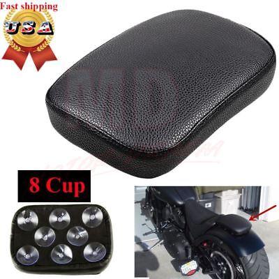 Black Motorcycle Rear Fender Passenger Pillion Pad Seat 8 Suction For Harley 883