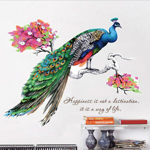 000dbda8fc9 1x 3D Colorful Peacock Blossom Flower Wall Decal Sticker Wall Art Home  Decor UK