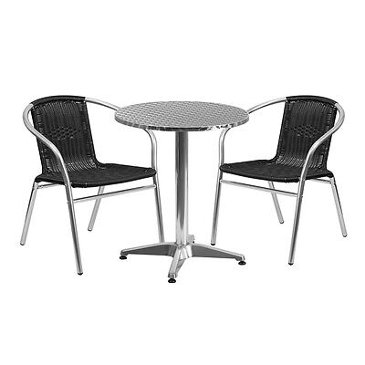 23.5'' Round Aluminum Indoor-Outdoor Table With 2 Black Rattan Chairs New
