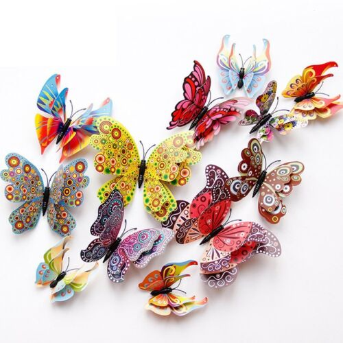 Home Decoration - 12 Pcs 3D Butterfly Wall Stickers PVC Children Room Decal Home Decoration Decor