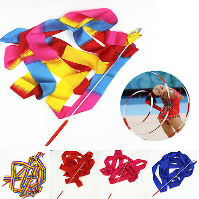 4M Dance Ribbon Gym Rhythmic Art Gymnastic Ballet Streamer Twirling Rod 10 - Ribbon Streamers