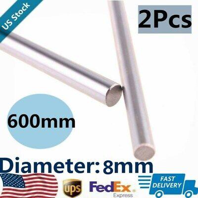 2pcs Od 8mm X 600mm Bearing Steel Optical Axis Shaft Rod Cylinder Rail Linear Us