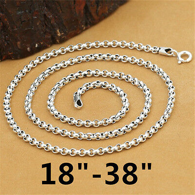 3 Mm Spring - 925 Sterling Silver Rolo Rollo Chain Necklace Belcher Chain Spring Clasp 3mm