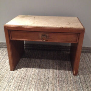 Solid Maple table with marble top