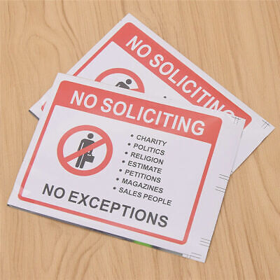 2x Waterproof No Soliciting Sign Sticker Warning Accessories Door Window DIY Pvc Window Accessories